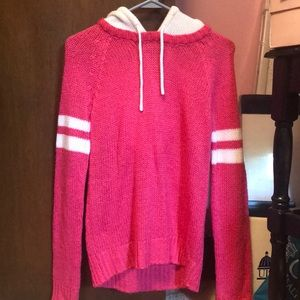 Pink and White Sweater with Hood
